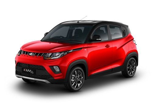 Automotive Mahindra KUV100 NXT Flamboyant Red & Metallic Black